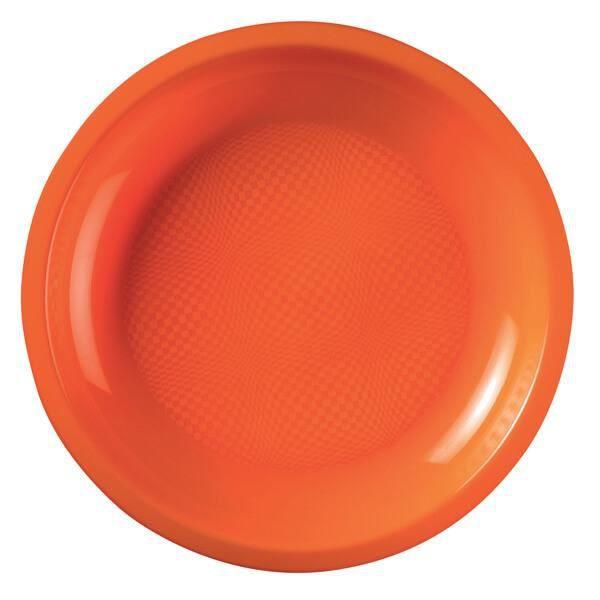 Assiette plate et ronde orange incassable 22cm (x10) REF/52750