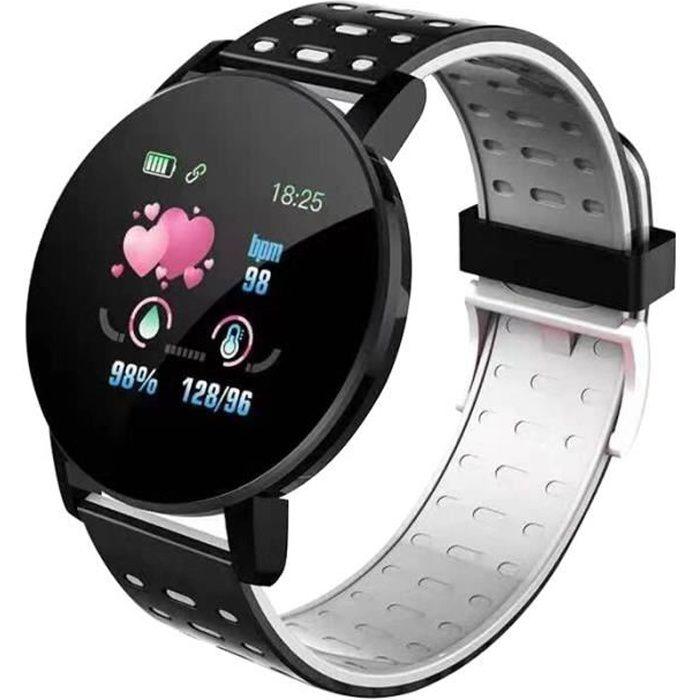 119 Plus Smart Bracelet Montre Fréquence Cardiaque Montre Intelligente Bracelet Smartwatch Pour Android IOS-argent