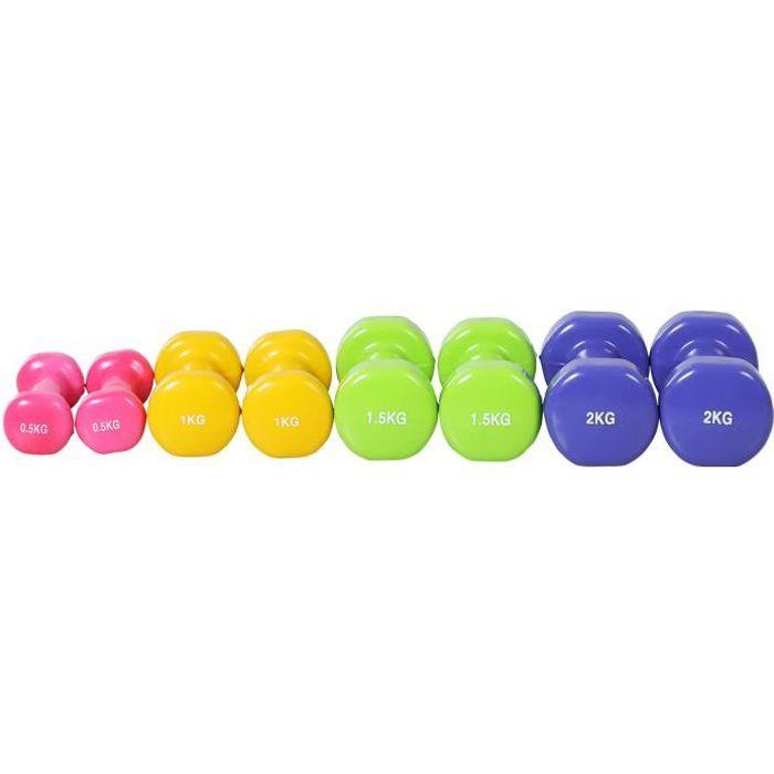 Ensemble d'haltères courtes total 10 Kg - paires de 0,5-1-1,5-2 Kg - entraînement musculaire & haltérophilie - métal PU multicolore