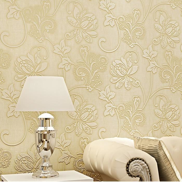 5 PCS 3D Papier peint de Rouleau 10m * 0.53m Décoration de fond de canapé TV Salon Chambre beige