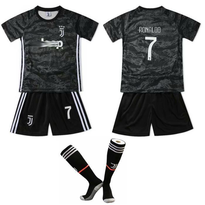 Ronaldo NO.7 Juventus Cristiano Jersey Maillots Foot et Shorts de football+ Chaussettes Enfant-Noir