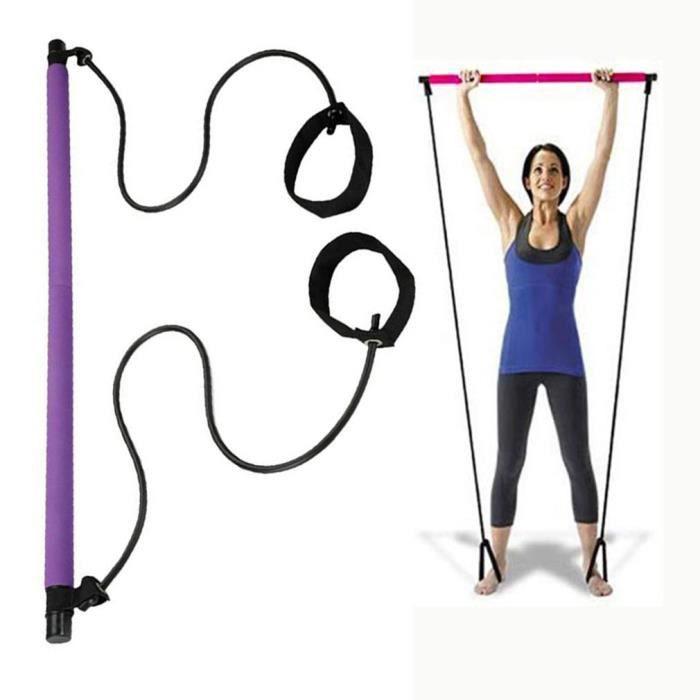 Barre de rallye de yoga portable multifonctionnelle pour bâton de pilates violet