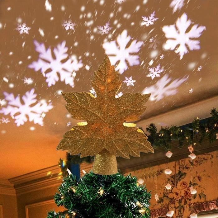 2 en 1 Lampe Projecteur LED Flocon de Neige, Etoile Sapin Noel Lumineuse pour Decoration Arbre Topper de Noël Interieur Exterieur