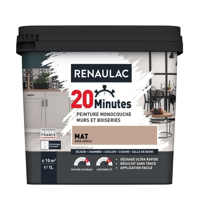 RENAULAC Peinture intérieur monocouche 20 Minutes murs et boiseries - 1L - 10 m² - Rose argile Mat