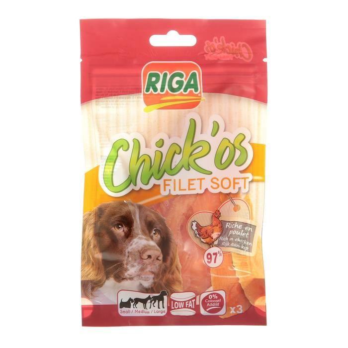 RIGA Chick'os Filet de poulet Soft Friandises pour chien - Sachet 80 g