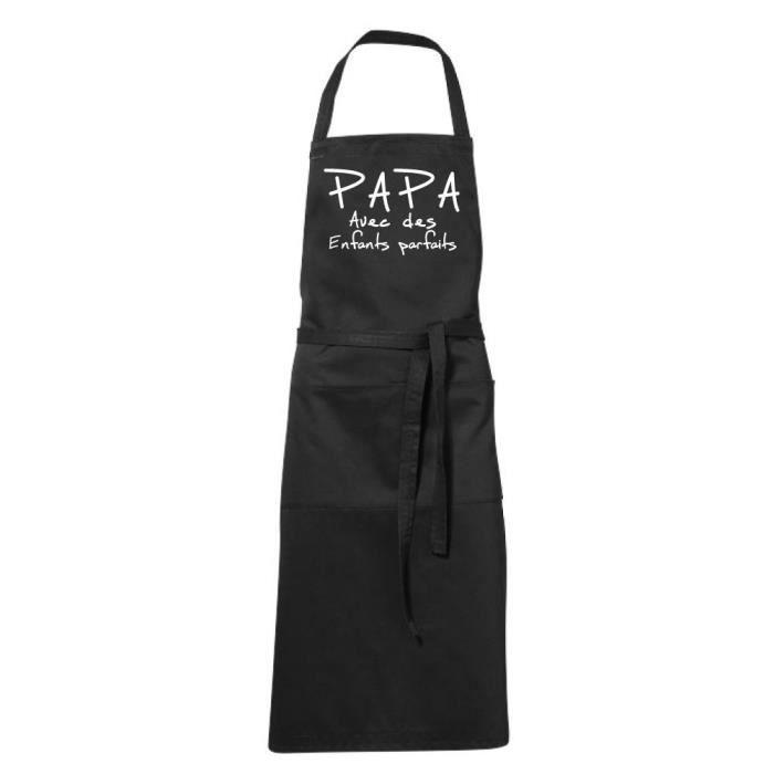 Tablier de cuisine noir Humoristique -PAPA ENFANTS PARFAITS - fete des Pères