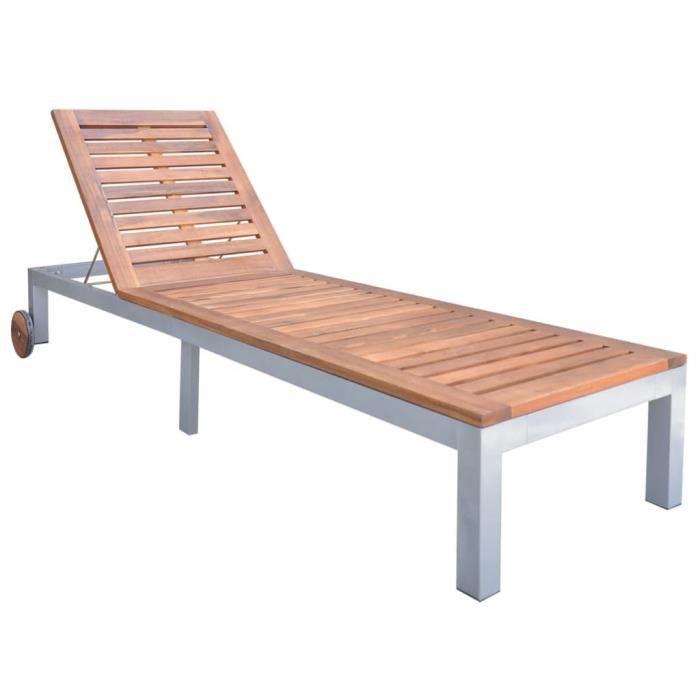 Chaise longue Bois d'acacia solide-FAR