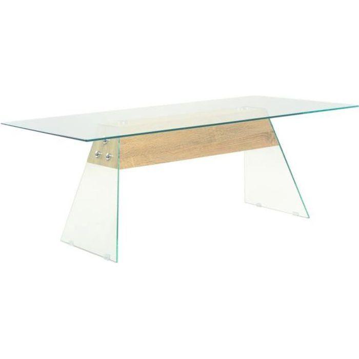 Table basse MDF et verre 110 x 55 x 40 cm Couleur de chêne - Transparent - Tables basses - Transparent - Transparent