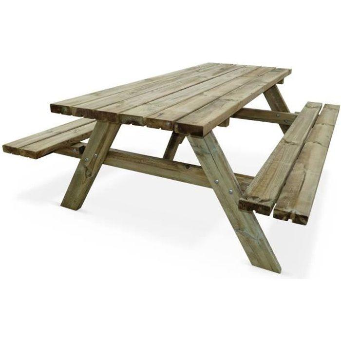 Table de pique-nique 180 cm avec bancs rabattables en bois, 6 places -  PANCHINA - Table de jardin robuste en pin sylvestre FSC