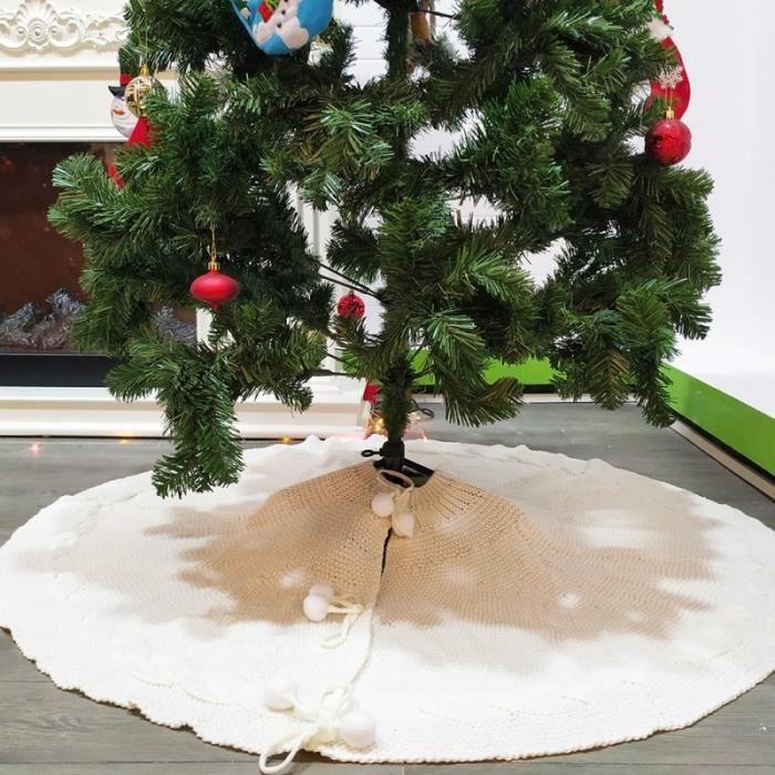 Jupe Sapin De Noel Jupe De Sapin De Noel Décoration 120cm Blanc Tapis en Tricoté