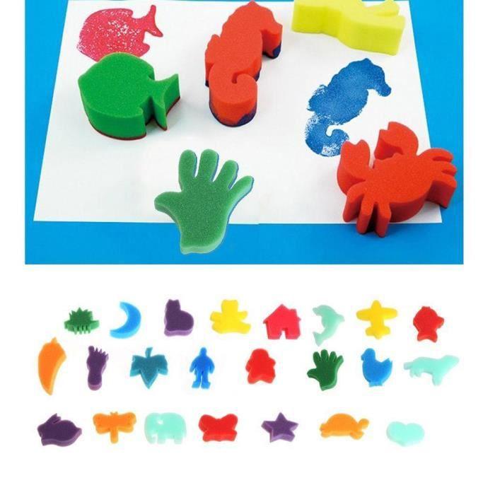 PACK OBJETS DE DÉCO 24pcs animaux éponges de dessin de paume enfants a