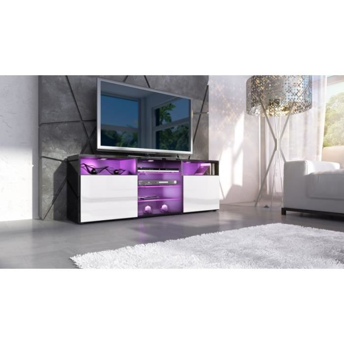 meuble design tv noir et blanc avec led achat vente meuble tv meuble design tv noir et blanc. Black Bedroom Furniture Sets. Home Design Ideas