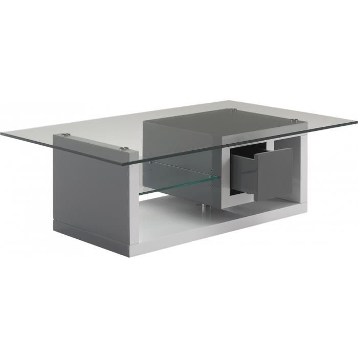 Table basse design laque blanc et gris anthracite 1 tiroir for Table basse gris anthracite