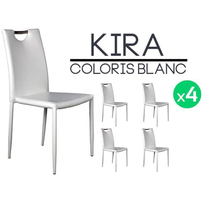 Kira lot 4 chaises blanches achat vente chaise - Lot 4 chaises blanches ...