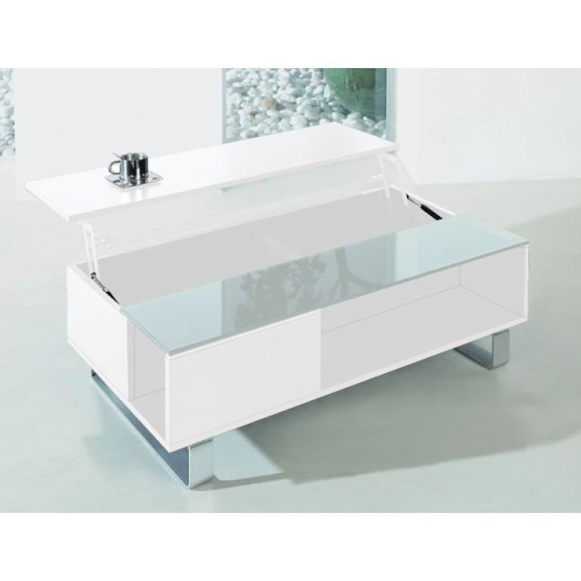 Table basse plateau relevable lincoln blanc achat for Table basse scandinave plateau relevable