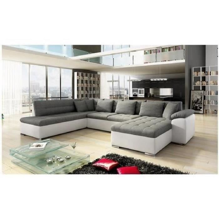 canap angle u alta 3 gris fonc blanc angle droit achat vente canap sofa divan cdiscount. Black Bedroom Furniture Sets. Home Design Ideas