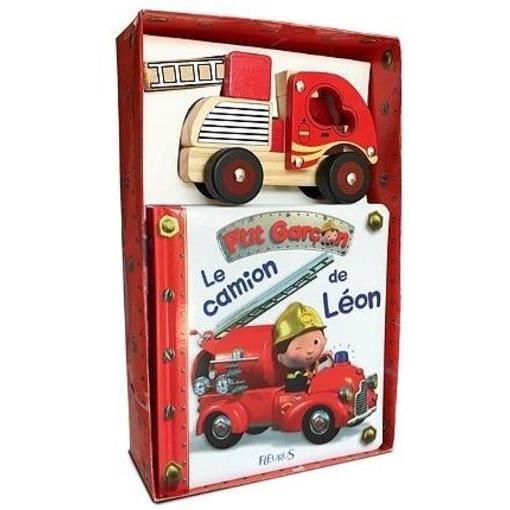 Livre 9 -12 ANS Livre - le camion de pompier de Léon ; coffret