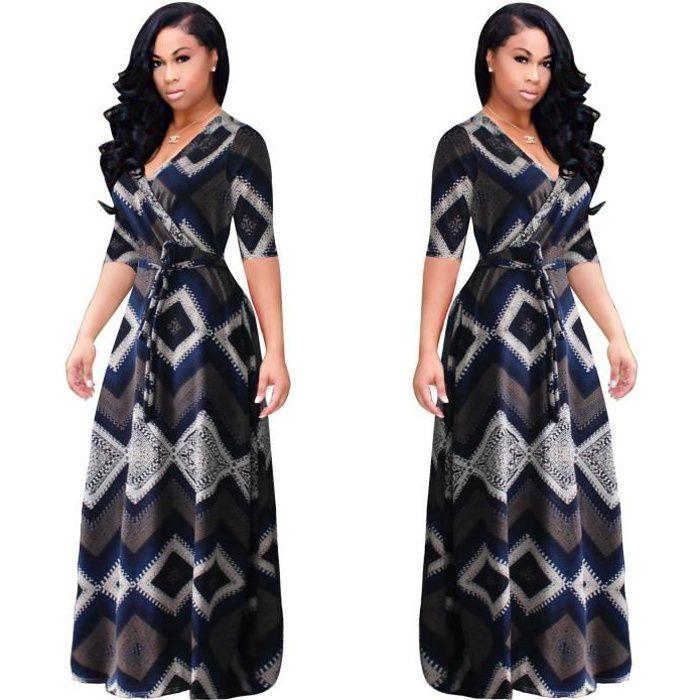 Robe Longue Femme Grande Taille Chic 2018 Printemps Ete Impression Quilting 121 Noir Achat Vente Robe Cdiscount