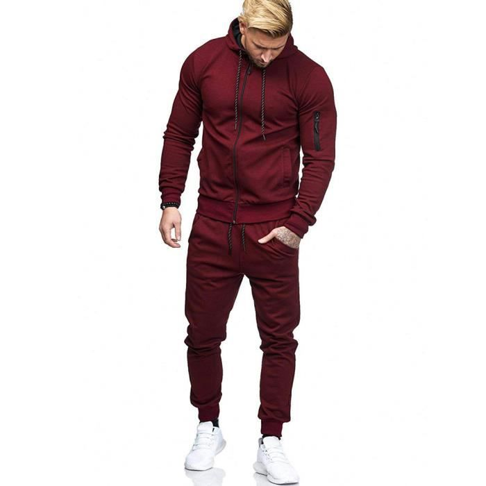 SWEATSHIRT Sweat Zipper Patchwork Automne Hommes Top Pantalon