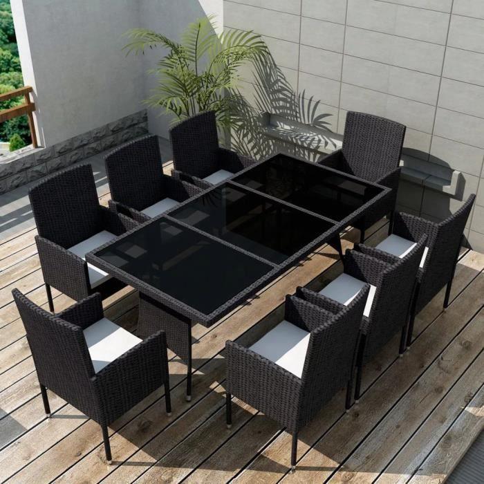 Jeu de mobilier de jardin 17 pcs Noir Ensemble table chaise ...