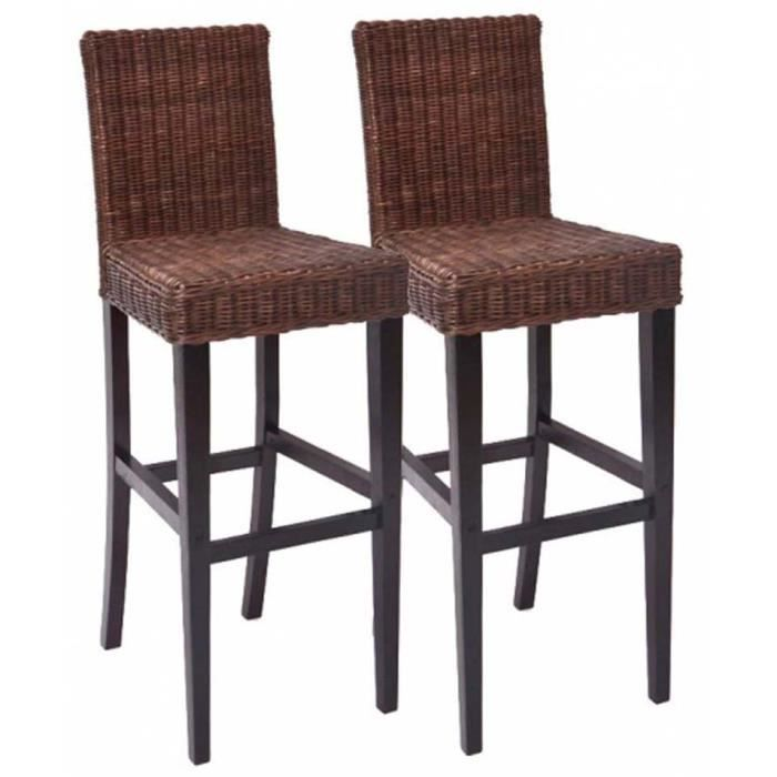 lot de 2 tabourets de bar en rotin m80 coloris achat vente tabouret de bar rotin cadeaux. Black Bedroom Furniture Sets. Home Design Ideas