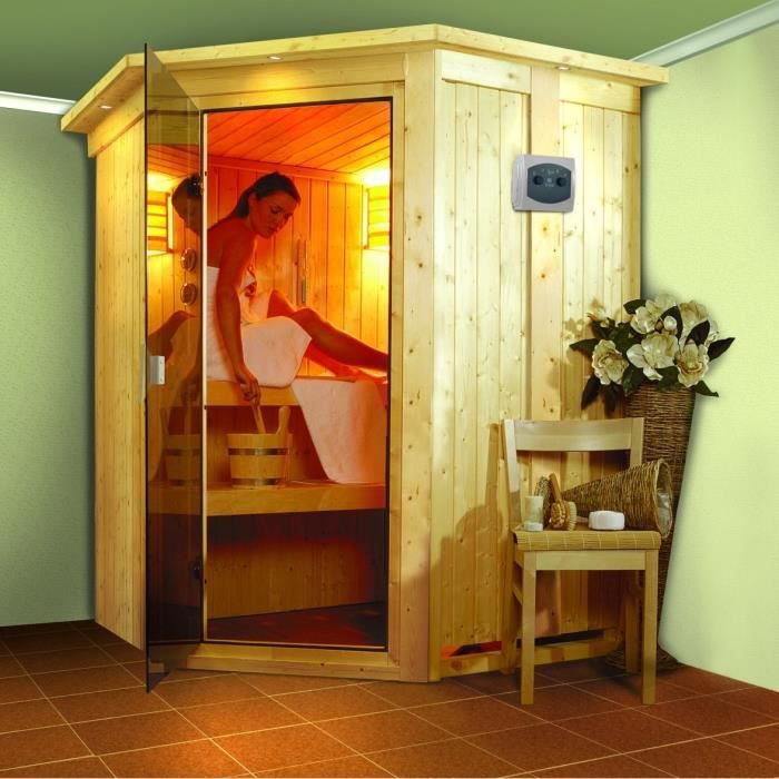 nanja sauna d 39 angle 3 places achat vente kit sauna. Black Bedroom Furniture Sets. Home Design Ideas