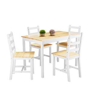 TABLE DE CUISINE  Table en Bois + 4 Chaises Ensemble  pour Salle à M