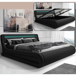 STRUCTURE DE LIT Lit coffre design Rodas – noir (180x200cm)