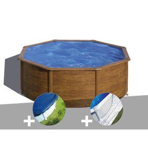 PISCINE Kit piscine acier aspect bois Gré Sicilia ronde 3,