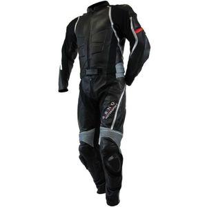 COMBINAISON DE PILOTE Kc214 Combinaison moto cuir noir gris ACCESS-FIT