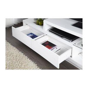 MEUBLE TV Meuble tv, meuble de salon NELS blanc laqué + LED.