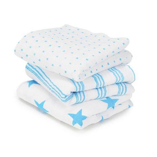 pack de 2 120cm x 120cm 100/% mousseline de coton fluro blue anais maxi-langes aden