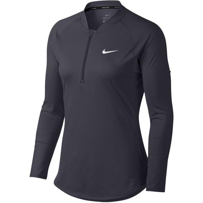 NIKE T-shirt de tennis Nkct Pure HZ - Femme - Noir
