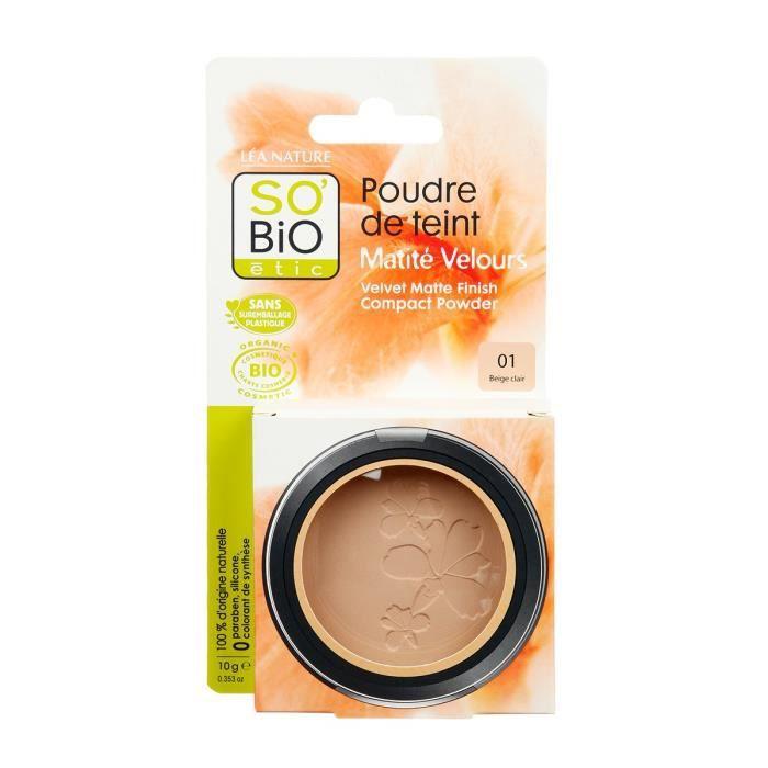 SOBIO Poudre de teint matité velours - Bio - 10 g - Beige clair