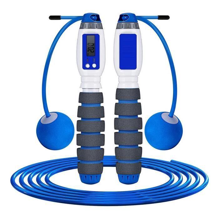 corde à sauter bienfaits à comptage électronique sans fil 2 en 1 réglable / pour l'entraînement de fitness Bleu