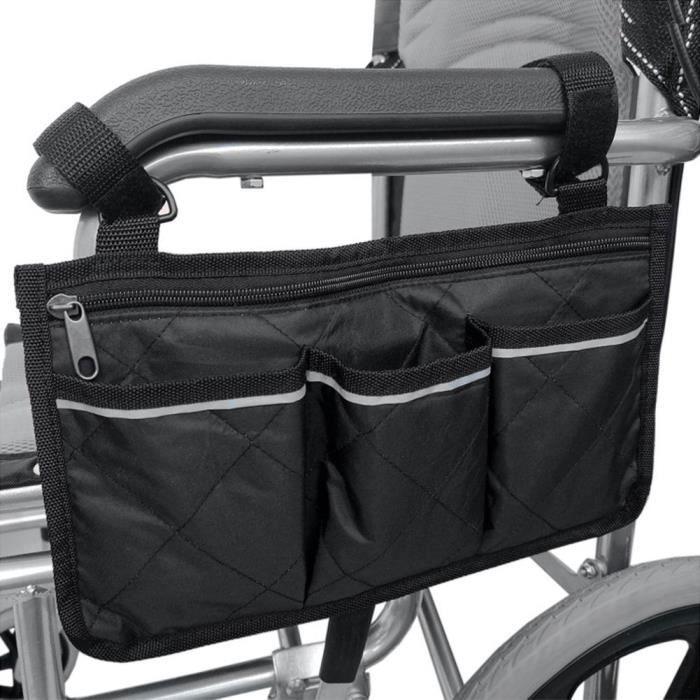 Sac de rangement multi-poches pour le côté de la main courante de fauteuil roulant(noir) -JIA