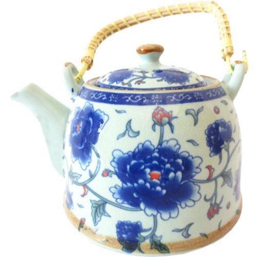 Théière Chinoise en porcelaine - Fleurs bleues