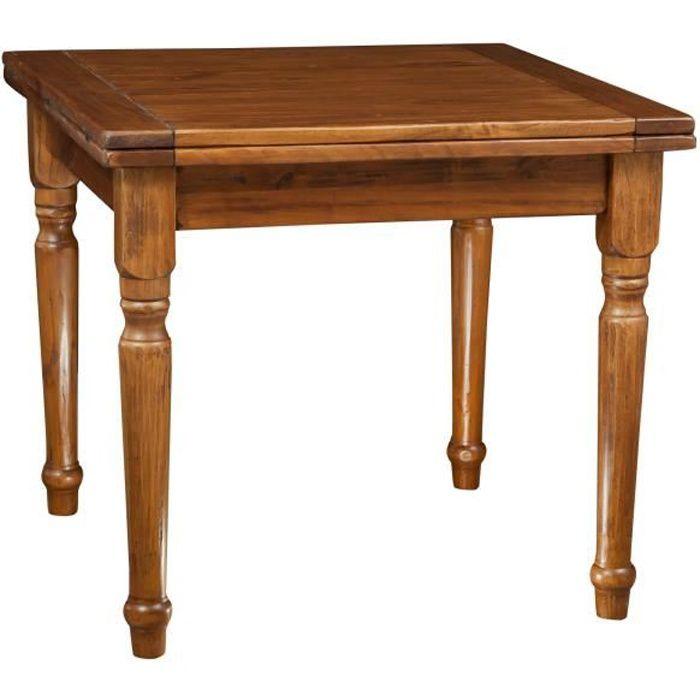Table à rallonge style champêtre en bois massif de tilleul massif, finition noyer L90xPR90xH80 cm
