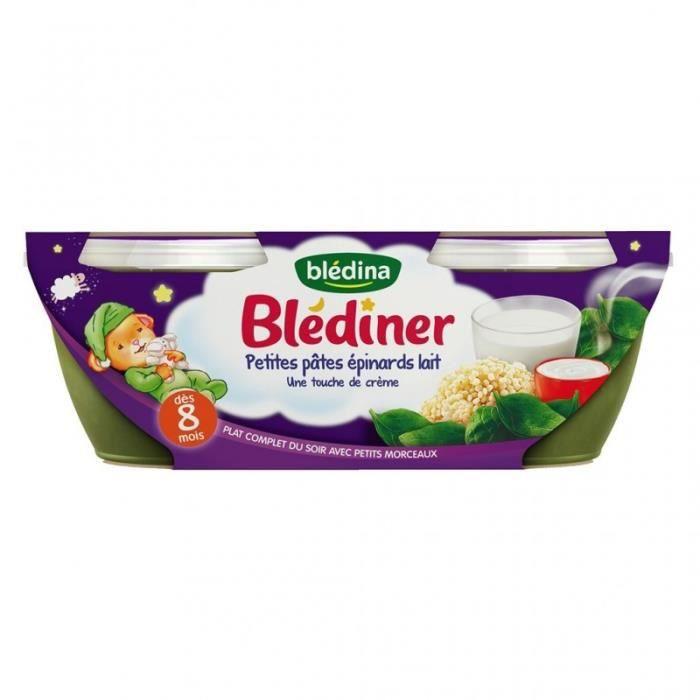 Blédina Blédiner Petites Pâtes Épinards Lait Touche de Crème (dès 8 mois) par 2 pots de 200g (lot de
