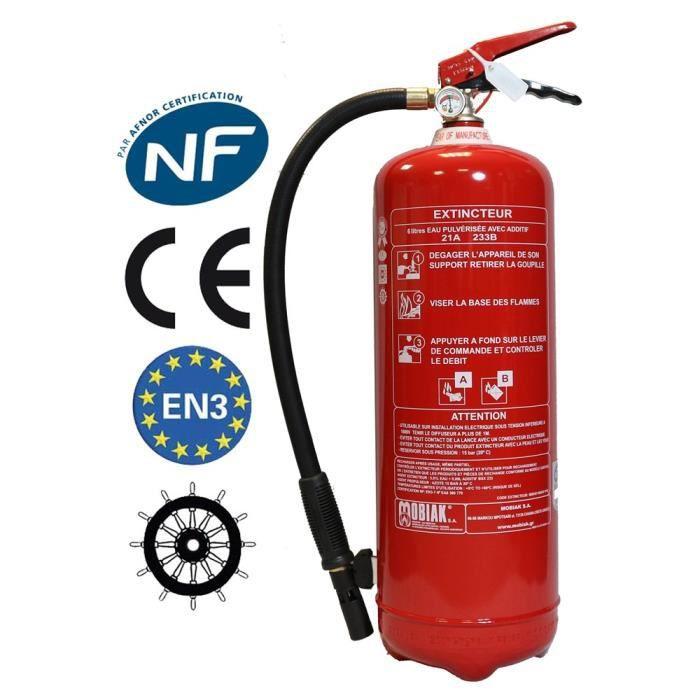 Extincteur 6 litres NF + Support fixation + Panneau signalétique Ref: 005714