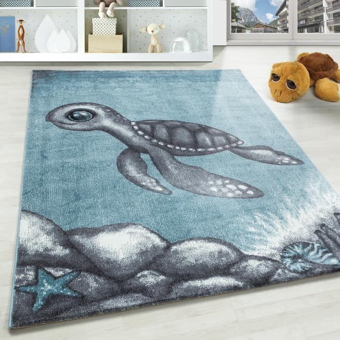 tortue tapis à poils courts enfants tapis chambre enfants gris doux bleu tacheté [160x230 cm, Bleu]