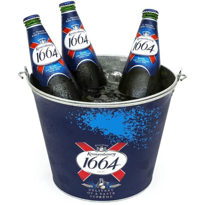 Kronenbourg 1664 Bière Bier Métal Glace Seau Bleu Maison Pub BAR Fête Boissons Refroidisseur