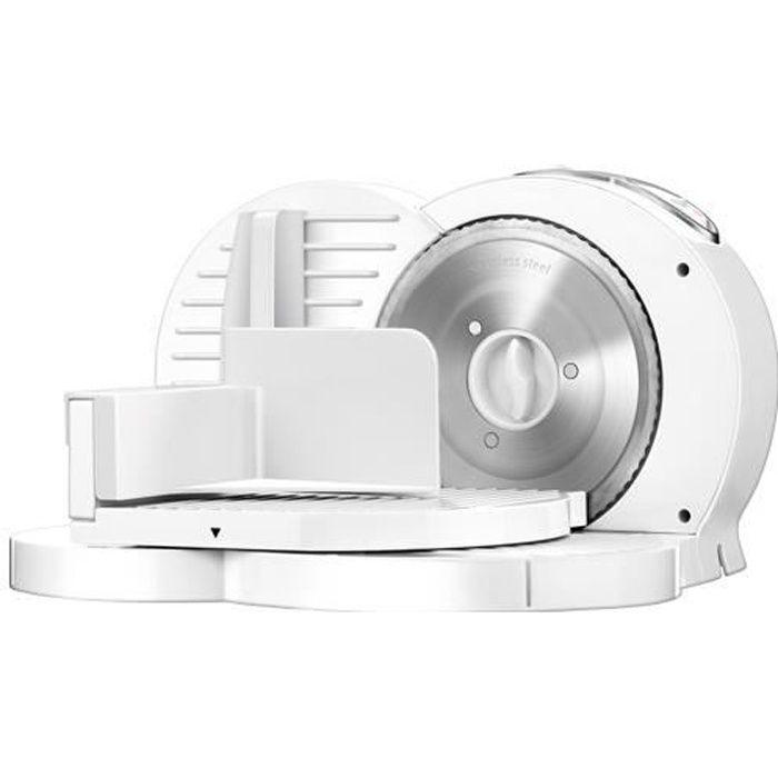 MPM MKR-03 Trancheur pliant blanc, épaisseur de coupe réglable 15 mm, disque de coupe 17 cm, 150 W