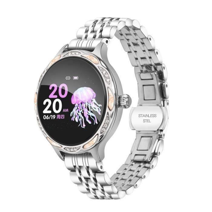 Montre Connectée Bracelet de Femme Santé Imperméable Surveillance Bracelet Intelligente Multi-fonction Avec Bracelet En Métal