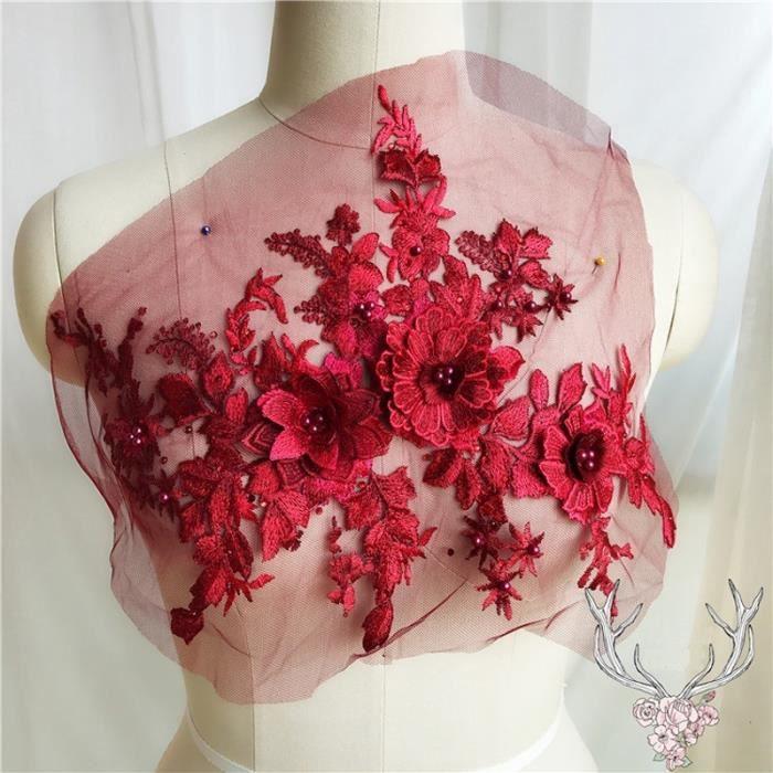 Vin rouge Mode 3D Fleur Dentelle Broderie Applique De Mariée Perlée Perle Strass Tulle DIY Weddin Vin rouge Vin rouge Mode Rouge F