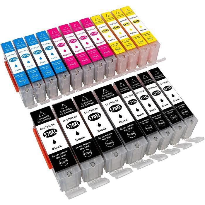 Cartouches d'encre ESMOnline Lot de 20 cartouches d&aposencre XL compatibles Canon Pixma TS 5050 5051 5053 5055 6050 60 81114