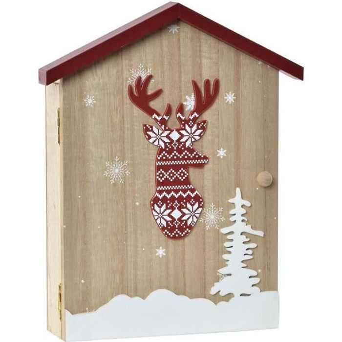 BOITE à clés BOIS armoire murale neuve crochets porte clés décoration RENNE ambiance CHALET montagne campagne