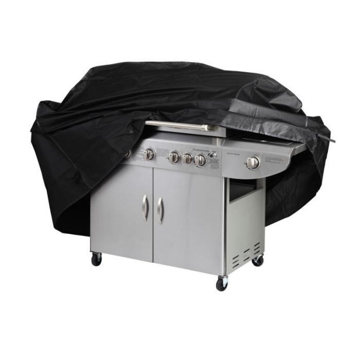 Housse Bâche Couverture barbecue BBQ Protection Étanche Anti Poussière Anti Pluie 170x61x117 CM en 190T Tissu Oxford pour à gaz Noir