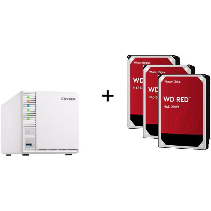 Serveur de Stockage (NAS) - TS-328 - 3 Baies + WD Red™ - 3 Disque dur Interne NAS - 2To - 5 400 tr/min - Cache 64MB 3.5- WD20EFAX