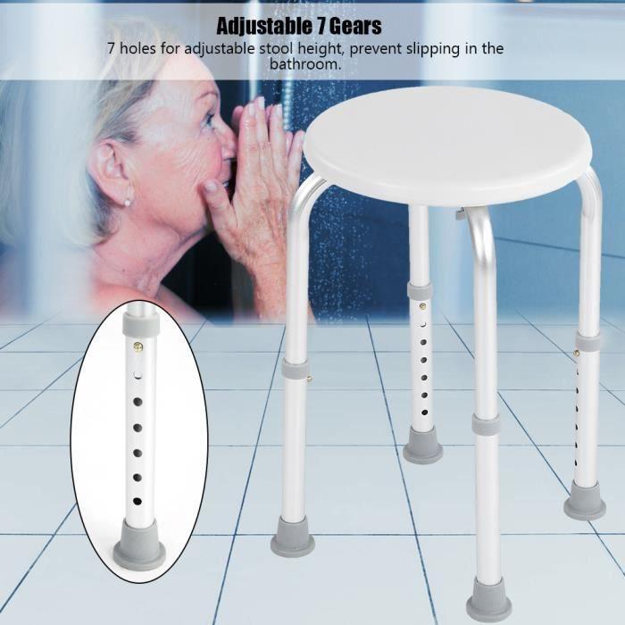 VQU Tabouret de douche Tabouret de douche de bain rond réglable siège de sécurité en alliage d'aluminium soins pour